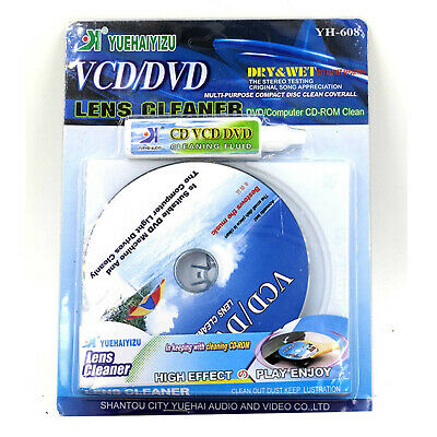 Wet & Dry CD DVD VCD Xbox PS2 Stereo Head Lens Cleaner Disc + Cleaning Fluid YH8
