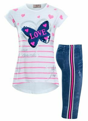 Girls Sequin Butterfly T Shirt Leggings Suit Children Age 4 6 7 8 10 11 12 Years