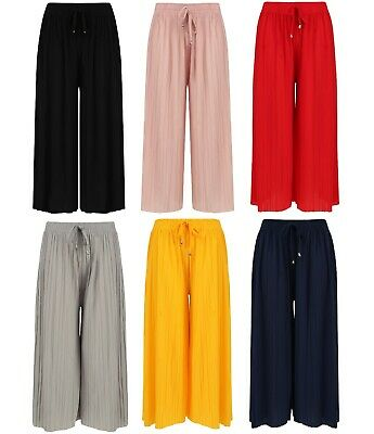 Ladies Culottes Harem Shorts 3/4 Pleated New Baggy Loose Elasticated Waist