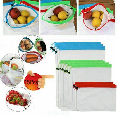 12/15pc Mesh Produce Bags Reusable Grocery Shopping Fruit Vegetable Toys Storage