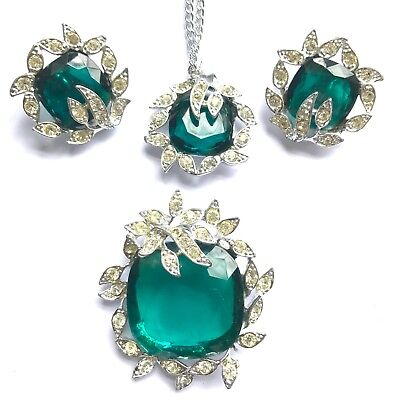 Huge Sarah Coventry Silver Emerald Crystal Necklace
