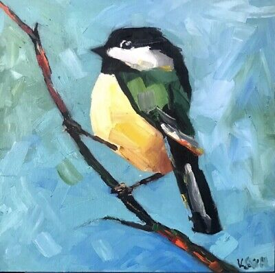 Hand-painted abstract Oil Bird Painting