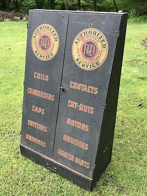 Vintage 1930's P&D Ignition Parts Service Cabinet Industrial Metal Sign Gas Oil