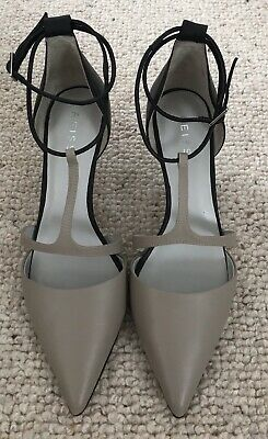 ae27e4c65f Reiss Strappy Leather Kitten Heel Shoes Nude And Black Size 37 Uk 4