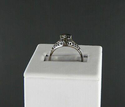 Estate Vintage Art Deco Solid 10K White Gold Ring Dendritic Moss Agate Stone 6.2
