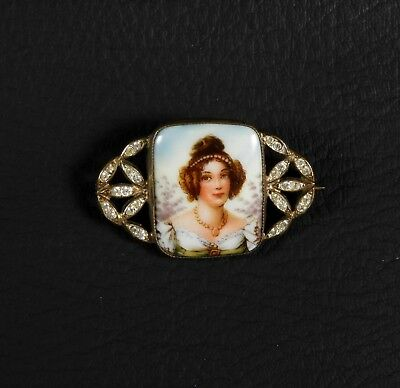 Antique Art Deco Nouveau Hand Painted Enamel Portrait Rhinestone Pin Brooch