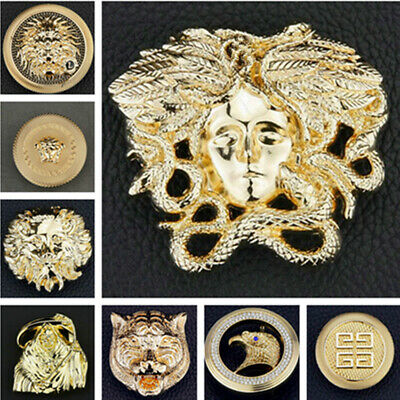 Medusa Lion Gold Coins Buckles 3D Patterns Alloy Pin Buckle 33 38 mm Belts UK