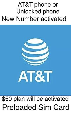 AT&T PREPAID $50 Preoladed Sim Card Activation - $40 00