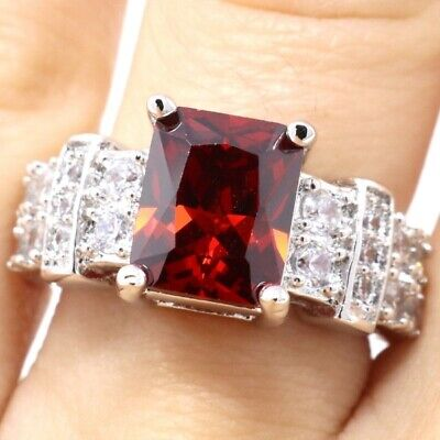 4 Ct Cushion Red Ruby Moissanite Ring Women Wedding Engagement Birthday Jewelry