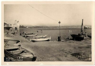 Judaica Old Postcard Acre Fisher's Harbour With Boats