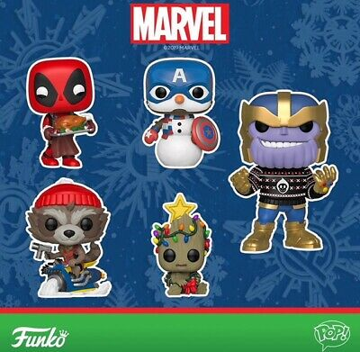 Funko Pop! Marvel Holiday Thanos Groot Captain America Rocket