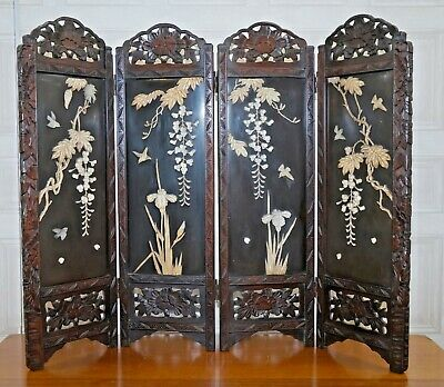 Divine Antique Chinese Black Lacquer And Jade Room Divider Salesman Example