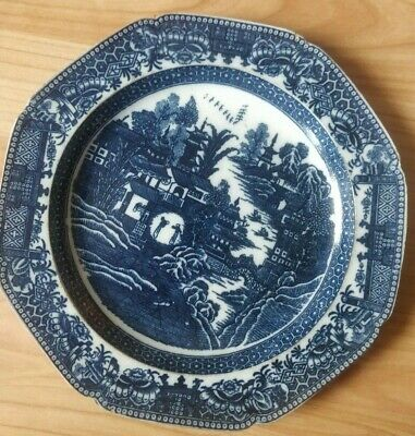 """Early 19th Century Pearlware Blue White Dinner Plate Unusual palette 24cm 9.5"""""""