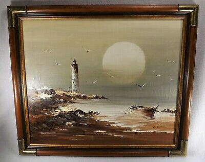 Vintage 1970's Oil on Canvas Hand Painted Framed Lighthouse & Moon Signed Durrie