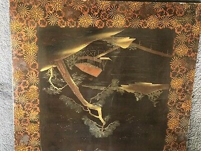 Oriental Wall Panel Hand Painted Vintage