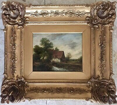19th Century Oil Painting On Canvas signed Gilt Frame
