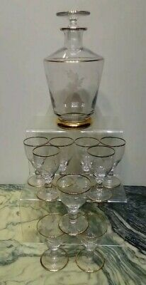 Hand Blown Antique Glass Decanter And Glasses. Etched. Enamel. Cameo