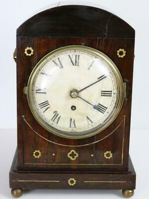 ANTIQUE REGENCY GEORGIAN MANTEL CLOCK single fusee 8 day mechanism ROSEWOOD CASE