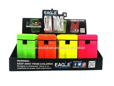 20 Wind Proof EAGLE SLIM TORCH NEON Color Lighter Adjustable Refillable Outdoor
