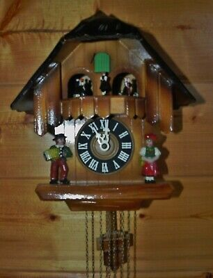 Vintage Black Forest Cuckoo Clock CUENDET Musical Chalet Dancing Girls Germany