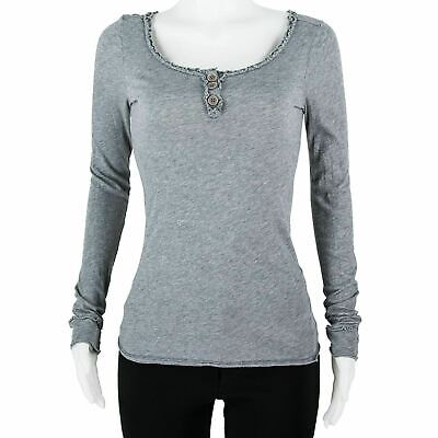 Marc By Marc Jacobs Grey Cotton Ruffle Scoop Neck 3 Btn Front Top Blouse SZ XS