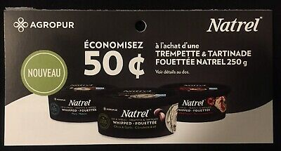 Lot of 20 x 0.50$ Natrel Dip & Spread Whipped Products Coupons Canada