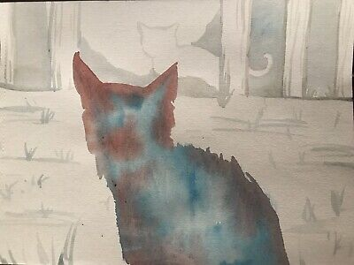 The Visitor. FREE POST Cat Art Sienna Mayfair A4 Original Animal Painting