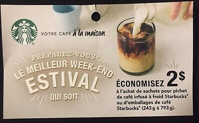 Lot of 20 x 2.00$ Starbucks Products Coupons Canada