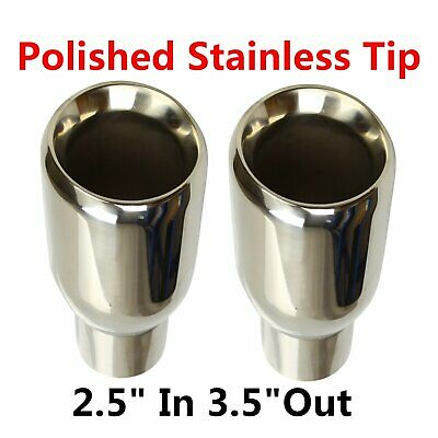 "2PCS 2.5""In 3.5""Out Sliver Polished Stainless Steel Exhaust Duo layer Slant Tips"