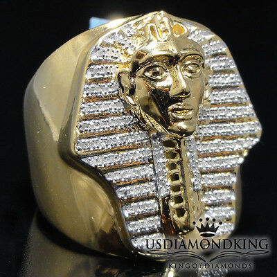 33ct Genuine Real Mens Diamond Egyptian King Tut Pharaoh Big Bold Ring Band S11