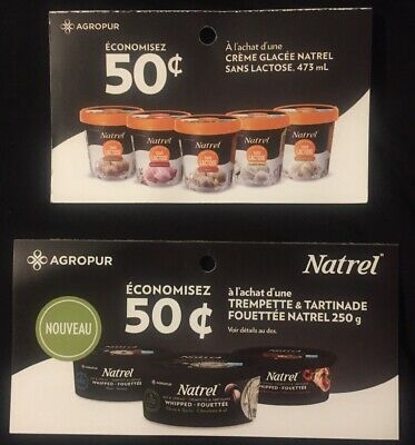Lot of 20 x 0.50$ Natrel Products Coupons Canada