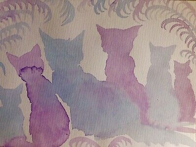 Lavender Cat Family Free Post Art Sienna Mayfair A4 Original Painting