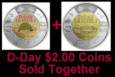 2019 CANADA 🥇 D-Day $2 Dollar Coins - Both Versions; BU from roll; L👀K 🏆