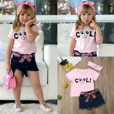 2Pcs Baby Girls Kid Letter Printed Shirt Tops+ Jeans Shorts+Headband Outfits Set