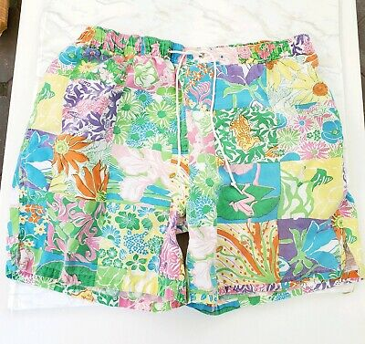 33c9dbd67eac5 LILLY PULITZER RARE Mens Swim Shorts Board Trunks Pink Green Tiger ...
