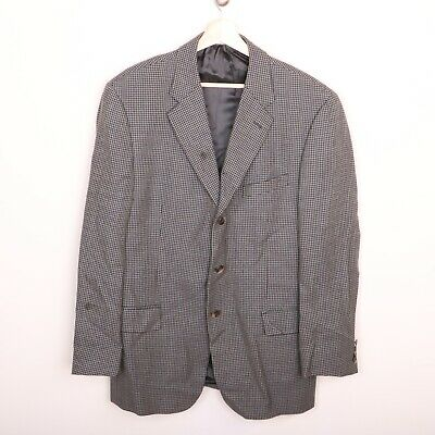 Joseph Abboud Wool Mens Sport Coat 40R 3 Button Jacket Brown Navy Blue Plaid