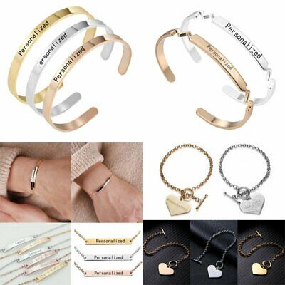 Personalized Stainless Steel Custom Letter Engraved Bracelet Chain Bangle Cuff