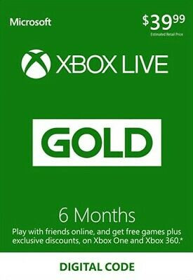 Xbox Live Gold 6 Month Code - Printed on Paper - No Message or Email Delivery
