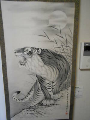 CHINESE PAINTING HANGING SCROLL CHINA TIGER ANTIQUE VINTAGE PICTURE AGED 223n
