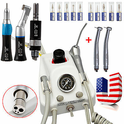 Dental Portable Air Turbine +2 High Fast+Slow Speed Handpieces set+10 Drills HFC