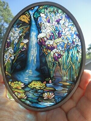VINTAGE Tiffany Stained Glass Window Suncatcher Repro Rare Waterfall Floral 1989