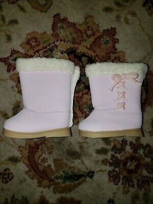 """Pink Boots Shoes with Fur Trim made for 18/"""" American Girl Doll Clothes"""