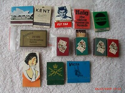 Collection Vintage Match Boxes, Taa, Victa, Kent, Opera House Etc.
