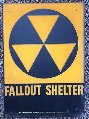 "VINTAGE 1960's FALLOUT SHELTER SIGN GALVSTEEL 10""x14"". ORIGINAL."