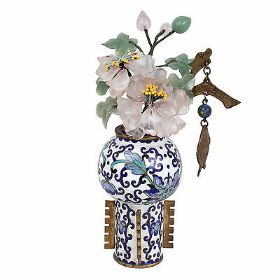 China 20. Jh Emaille A Chinese Cloisonne Vase & Hardstone Flowers Chinois Cinese