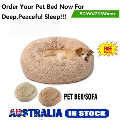70-80CM Pet Calming Bed Round Nest Faux Fur Donut Cat Dog Beds Self Warming AU
