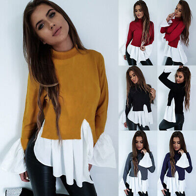 UK Womens Puff Sleeve Loose Jumper Blouse Ladies Summer Frill Tops T Shirts 6-16