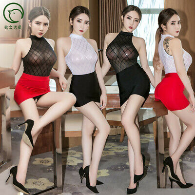 Sexy Women Check Lingerie Secretary Uniform Cosplay Costume Bodysuit + Skirt Set