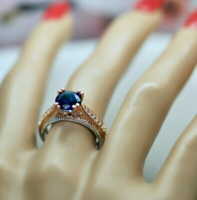 Antique Deco Jewellery Ring Blue White Sapphires Vintage Dress Jewelry Size L 6