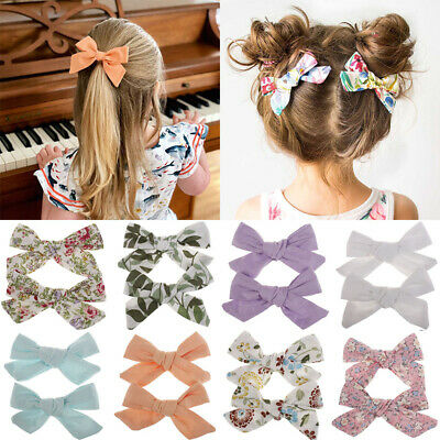Cute Girls Kids Baby Baby Print Lovely Floral Bow BB Hairpin Hair Clips Pins New